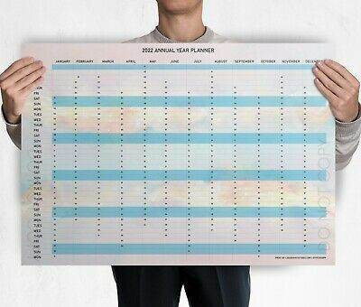 £2.99 • Buy ALL Sized 2022 Year Wall Planner Chart - UK Holidays & Calendars A4 A3 A2 A1 A0