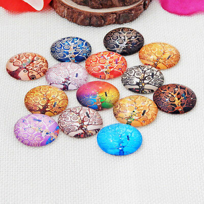 20 Tree Of Life Mixed Round Glass Cabochons Flat Back 12mm Jewellery (004) • 2.95£
