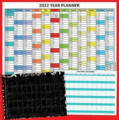 £12.99 • Buy 2021 Wall Calendar Year Yearly Planner Coloured Chart  Calender Home Office Work