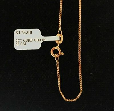 AU165 • Buy NEW 9ct Yellow Gold Fine Flat Curb Chain 55cm Hallmarked 375 Made In Italy