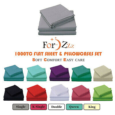 AU29.97 • Buy 1000TC 3PCS Soft Flat Sheet Set Single/KSingle/Double/Queen/King Bed (No Fitted)