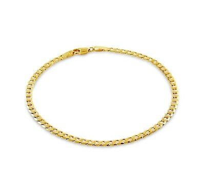 AU215 • Buy NEW Solid 9ct Yellow Gold Fine Flat Curb Bracelet Hallmarked 375 Made In Italy