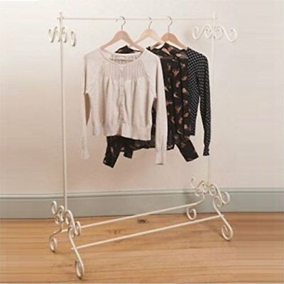 Vintage Cream Clothes Garment Rail Ornate Chic Metal Hanging Stand Strong • 26£