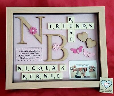 £25.99 • Buy BEST FRIEND GIFT Personalised Frame Picture SCRABBLE BOX Christmas Birthday