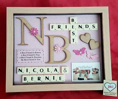 BEST FRIEND GIFT Personalised Frame Picture SCRABBLE BOX Christmas Birthday • 23.99£