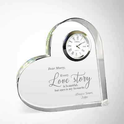 AU29.99 • Buy Valentines Day Gifts Personalised Crystal Heart Couples Engraved Free Gift Box