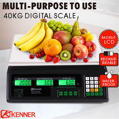 AU44.95 • Buy Kitchen Scale Digital Commercial Shop Electronic Weight Scales Food 40KG BLCD