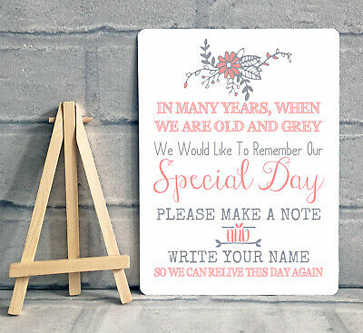 £8.95 • Buy A5 Guest Book Wish Tree Hearts Drop Box Wedding Metal Table Sign - PINK