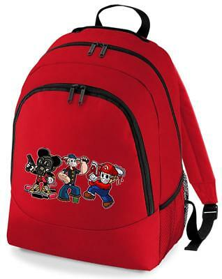Bnwt Cartoon Killers Mickey Mario Popeye Murderers  Backpack Rucksack School Bag • 15.99£