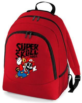 Bnwt Super Skull Mario Bros Gaming  College Backpack Rucksack School Bag • 15.99£