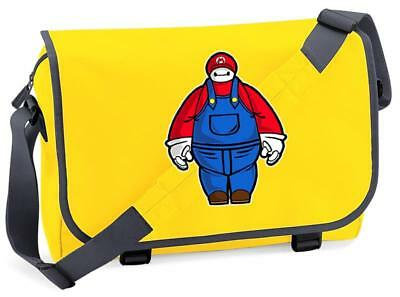 Bnwt Baymax Mario Bros Gaming Big Hero Mash Up  Messenger Shoulder Bag School • 15.99£