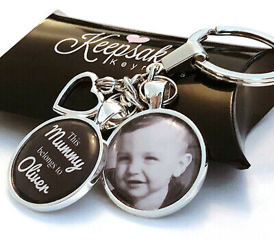 £7.45 • Buy Personalised Photo Keyring - Belongs To - Fathers Day Present Birthday Gift Box