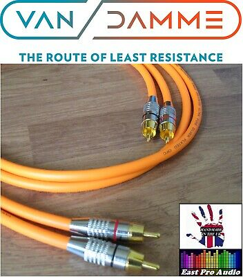 0.5m Pair - Van Damme RCA Phono Cables - Pro Grade Silver Plated Pure OFC Orange • 13.95£