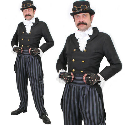 £34.99 • Buy Mens Steampunk Costume Vintage Victorian Man Halloween Fancy Dress Outfit