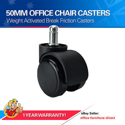 AU37.97 • Buy Office Chair Casters 50mm DIA Round Wheels Weight Activated Friction Caster X5