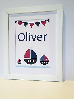 Nautical Nursery Print Boats New Baby Boy Gift Personalised Bedroom Wall Art • 12.99£
