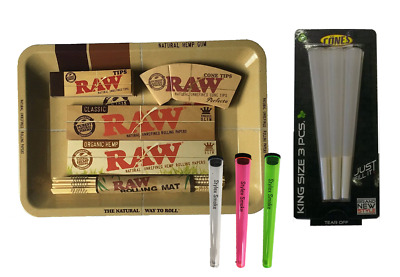 Raw Mini Rolling Tray Smoking Gift Set 3pc Cone Holders Tips Papers Mat Kit Uk • 9.99£