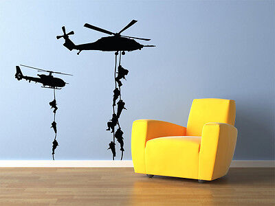 $22.99 • Buy Military Helicopter Troopers Rappelling Wall Decal Vinyl 22 X22