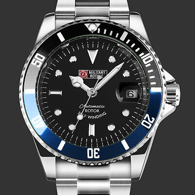 $27.99 • Buy Military Mens Watch Automatic Black Blue Bezel Date Stainless Steel Band Army