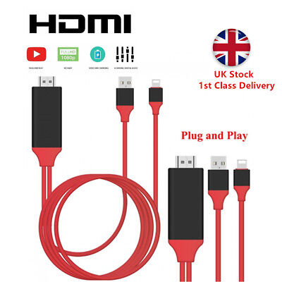 Lightning To HDMI Cable HD TV Adapter Lead 2M For IPhone 12 11 Pro XR XS Max 8 7 • 6.95£