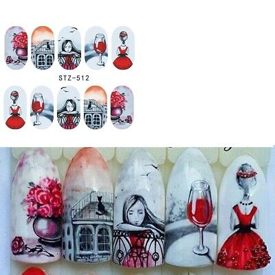 Nail Art Water Decals Stickers Transfers VALENTINES Day Love Roses Cat (STZ512) • 1.85£