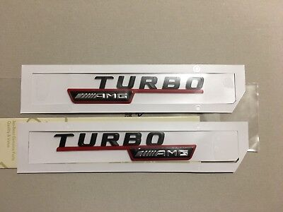 2x Mercedes-Benz  AMG Turbo Badge Emblem Decals Red • 22.90£