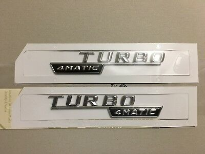 2x Mercedes-Benz  4Matic Turbo Badge Emblem Decals Chrome • 22.90£