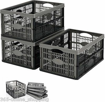 £18.25 • Buy 32L Plastic Folding Storage Container Basket Crate Box Stack Foldable Portable