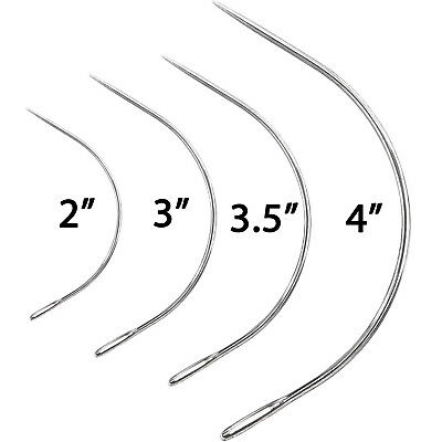 Curved Sewing Needles Repair Quilting Upholstery Wig Hair Weave 2  3  3.5  4  5  • 3.99£