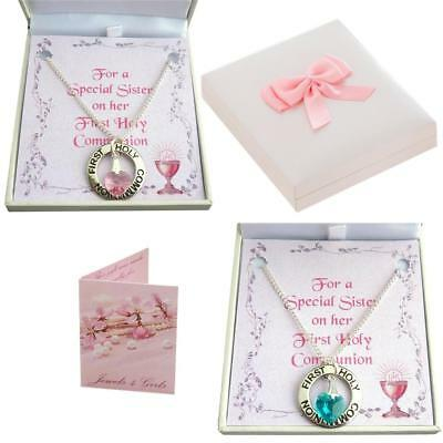First Holy Communion Day Necklace For Girl With Birthstone Heart. Gift Boxed. • 10.99£
