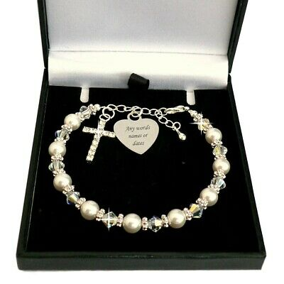 Personalised Bracelet For First Communion, ANY Engraving. Baptism, Christening • 19.99£
