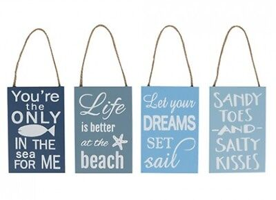 Wooden Shabby Chic Hanging Beach Sign Dreams Sandy Toes Fish In Sea Designs • 3.49£