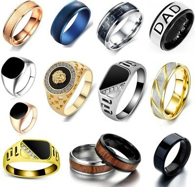 Men's Rings Stainless Steel Brushed Titanium Onyx Signet Wedding Band Thumb Ring • 2.95£