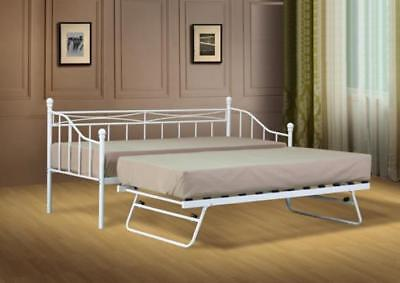 £119.99 • Buy Small Single Metal Day Bed White Or Black Guest Bed With Trundle Mattress Option