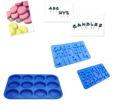 Set Of A-Z Letter Candle Moulds & Wax Melt Tart Tray, Swirl, Heart Etc. S7760 • 10£