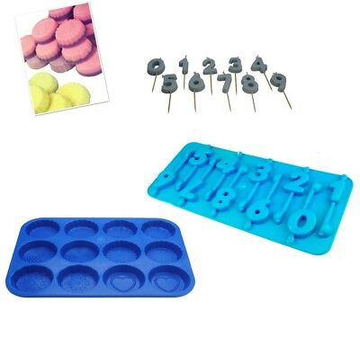 Set Of 0-9 Number Candle Moulds & Wax Melt Tart Tray, Swirl, Heart Etc. S7761 • 8£
