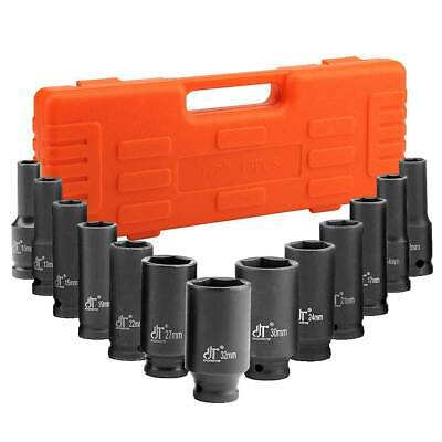 13 Pc 1/2  Inch Heavy Duty Deep Impact Socket Tool Set 10-32mm Metric Garage • 17.79£