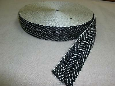 £3.99 • Buy 3 Mtrs - BLACK & WHITE 2  UPHOLSTERY WEBBING For Seats & Furniture