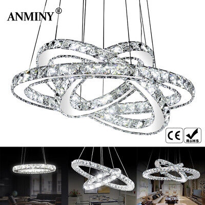 LED Crystal Ring Pendant Light Chandelier Lamp Ceiling Fixture + Remote Or Not • 70.99£