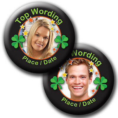 Personalised Black Photo Ireland Shamrock Hen Stag Do Party Pin Badge Or Mirror  • 1.90£