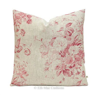 Cabbages And Roses Constance Linen Dark Red Designer Fabric Cushion Cover • 35.99£