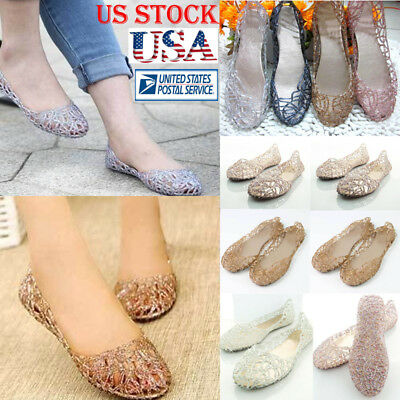 331f30d28e5 Womens Ventilate Crystal Shoes Jelly Hollow Mesh Glitter Sandals Flat Shoes  Size • 8.39