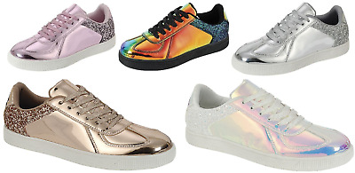 $17.95 • Buy New Women Sequin Glitter Lace Up Shoes Holographic Comfort Athletic Sneakers