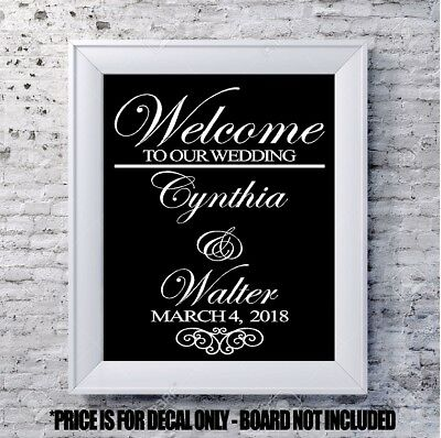 $13 • Buy Custom Wedding Decal Welcome Scroll Personalized Vinyl Sign Mirror Chalk Board