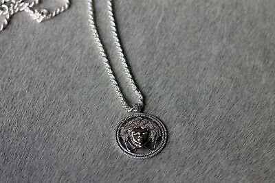£119.99 • Buy Iced Out Silver Medusa Pendant W/ Rope Chain