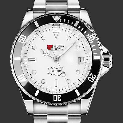 $25.99 • Buy Military Mens Automatic Mechanical Watch White Dial Wrist Steel Date Analog Army