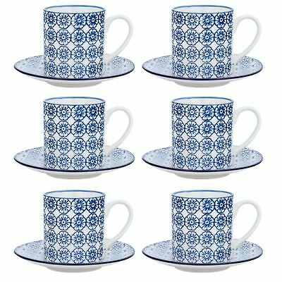 £13.99 • Buy Espresso Cups & Saucers Patterned Coffee Set - Blue Flower Print X6 - 65ml