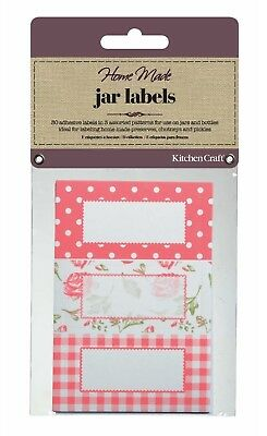KITCHENCRAFT Pack 30 Self Adhesive Jam Jar/Bottle Labels/Stickers. Roses/Floral • 3.25£