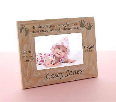 £9.99 • Buy New Baby Wooden Photo Frame Personalised  6 X 4 Engraved Boy Or Girl