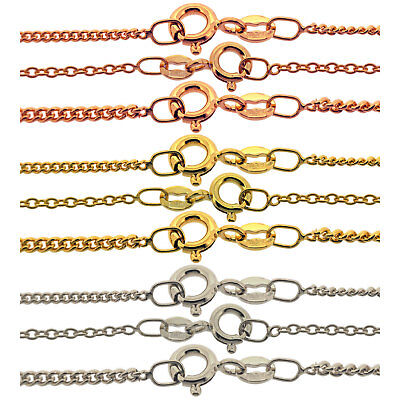 Italian Made 9ct Gold & 925 Silver Plated Curb Trace Chains Necklace 14  - 40  • 7.20£